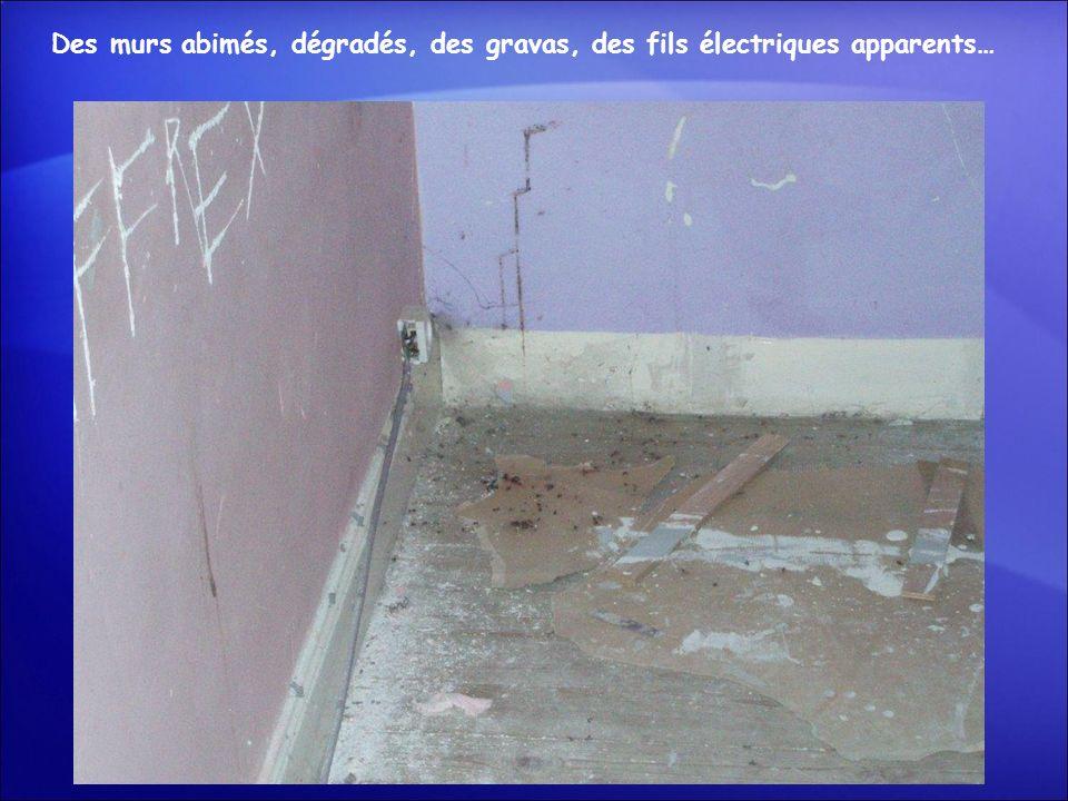 Des murs abimés, dégradés, des gravas, des fils électriques apparents…