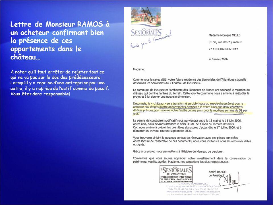 Lettre de Monsieur RAMOS à un acheteur confirmant bien la présence de ces appartements dans le château…
