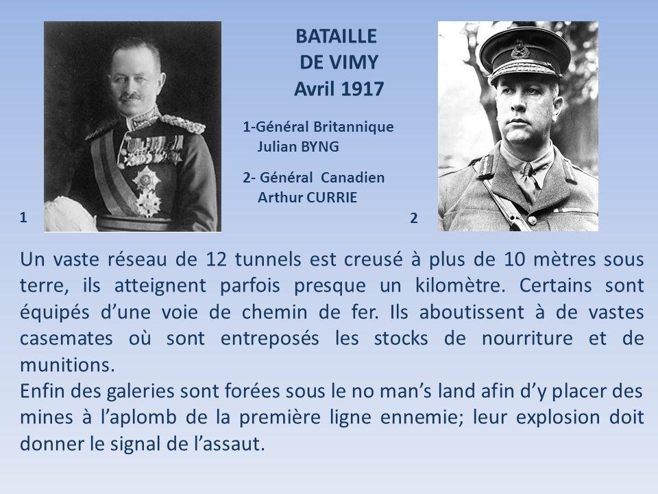 BATAILLE DE VIMY. Avril 1917. 1-Général Britannique. Julian BYNG. 2- Général Canadien. Arthur CURRIE.