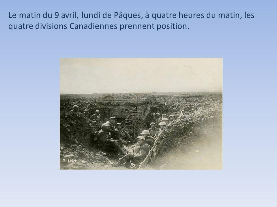 Le matin du 9 avril, lundi de Pâques, à quatre heures du matin, les quatre divisions Canadiennes prennent position.