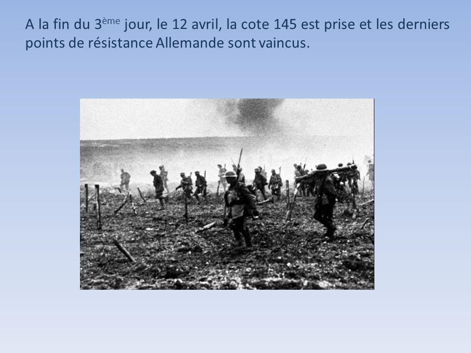A la fin du 3ème jour, le 12 avril, la cote 145 est prise et les derniers points de résistance Allemande sont vaincus.