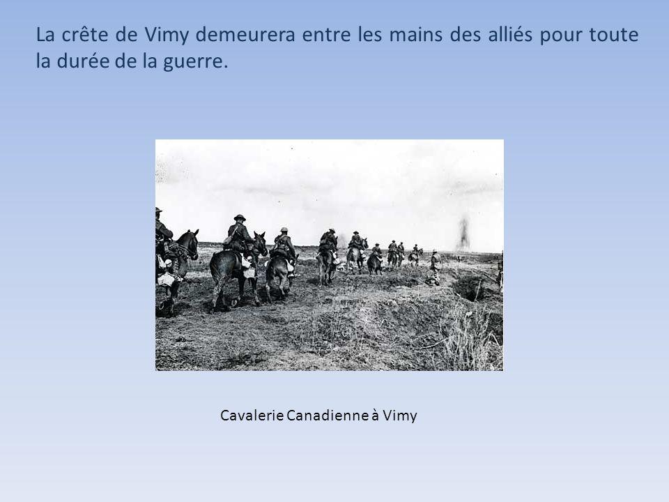 La crête de Vimy demeurera entre les mains des alliés pour toute la durée de la guerre.