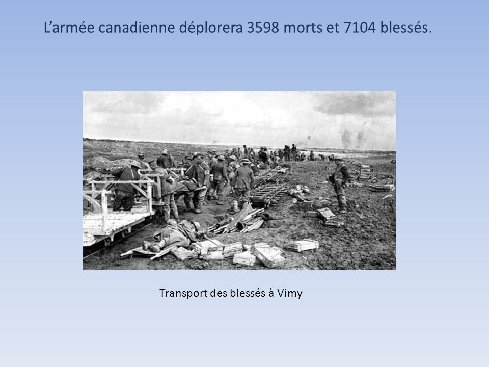 L'armée canadienne déplorera 3598 morts et 7104 blessés.