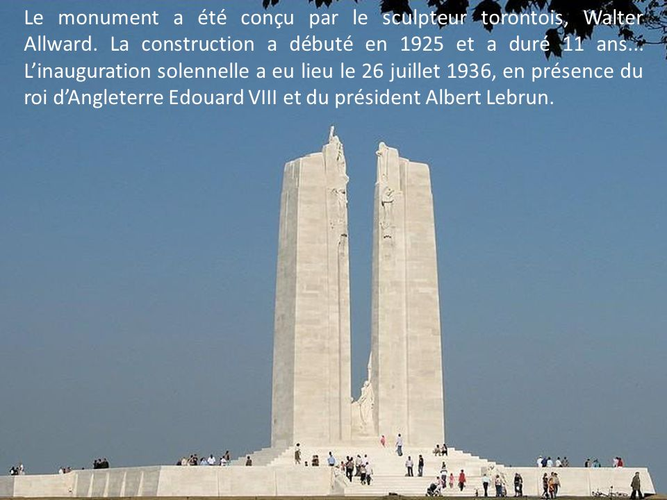 Le monument a été conçu par le sculpteur torontois, Walter Allward