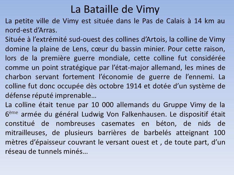 La Bataille de Vimy La petite ville de Vimy est située dans le Pas de Calais à 14 km au nord-est d'Arras.