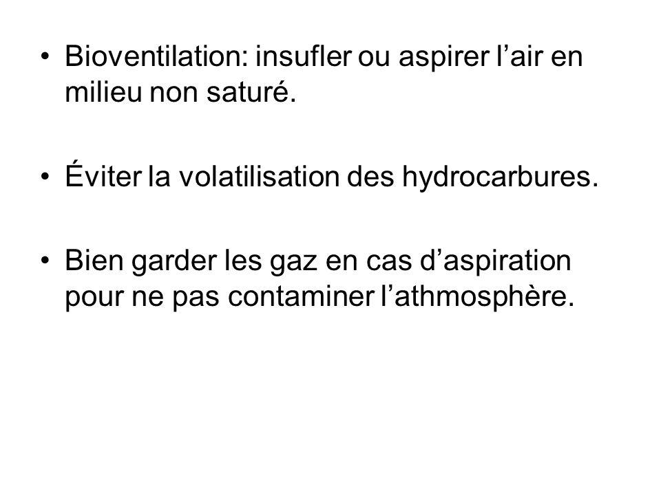 Bioventilation: insufler ou aspirer l'air en milieu non saturé.
