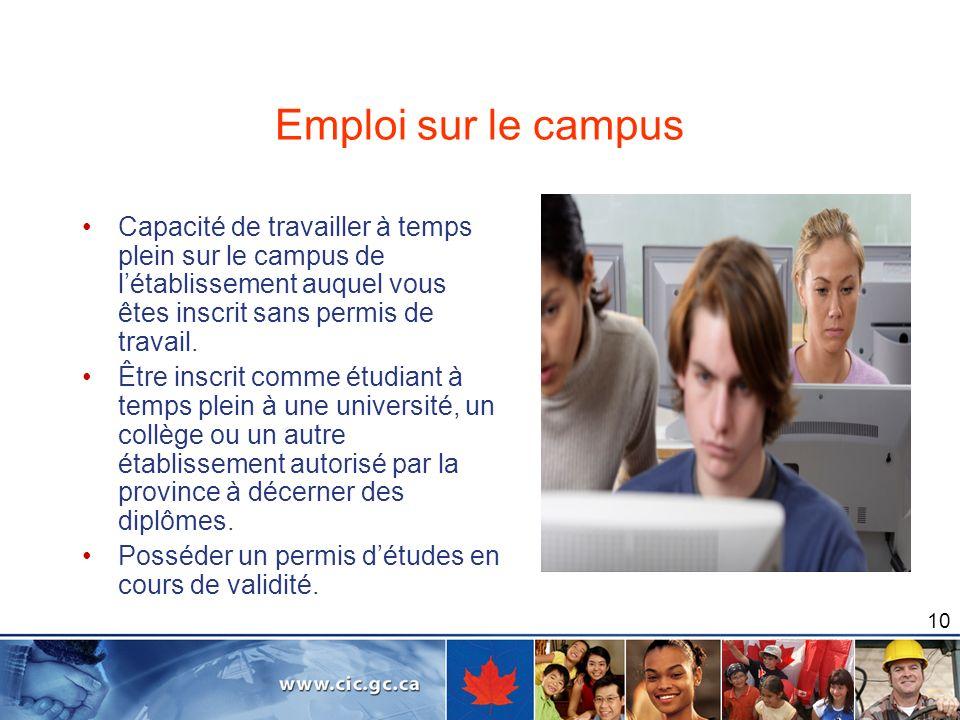 Emploi sur le campus Capacité de travailler à temps plein sur le campus de l'établissement auquel vous êtes inscrit sans permis de travail.