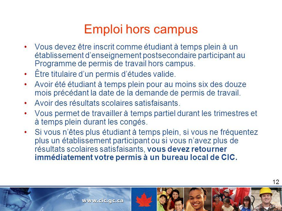 Emploi hors campus