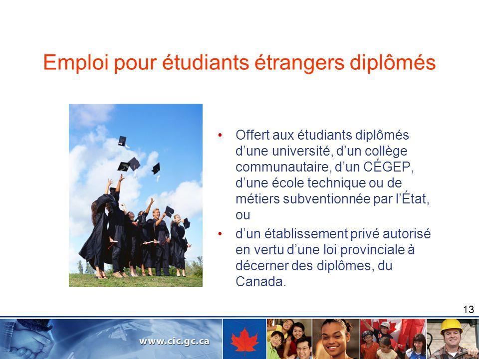 Emploi pour étudiants étrangers diplômés