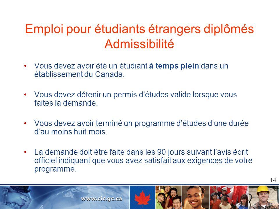 Emploi pour étudiants étrangers diplômés Admissibilité