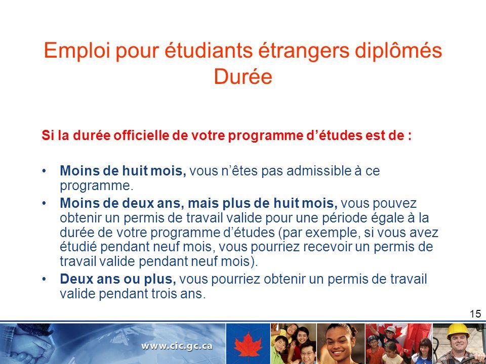 Emploi pour étudiants étrangers diplômés Durée