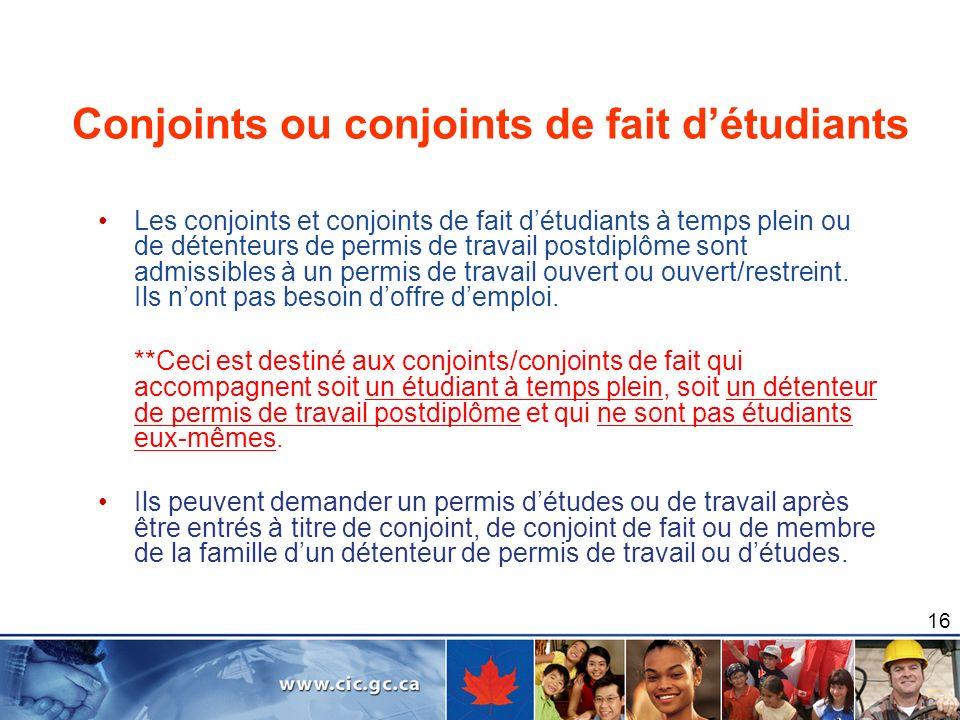 Conjoints ou conjoints de fait d'étudiants