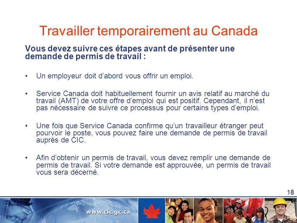 Travailler temporairement au Canada