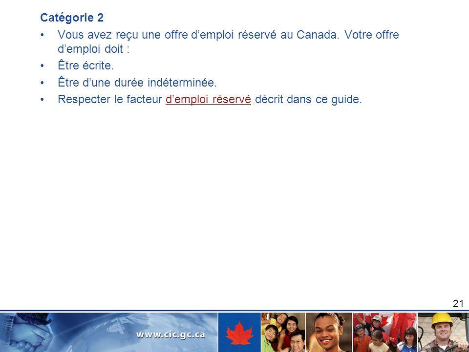 Catégorie 2 Vous avez reçu une offre d'emploi réservé au Canada. Votre offre d'emploi doit : Être écrite.
