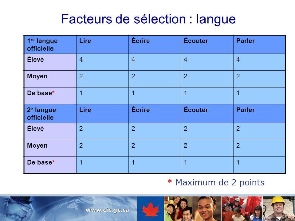 Facteurs de sélection : langue