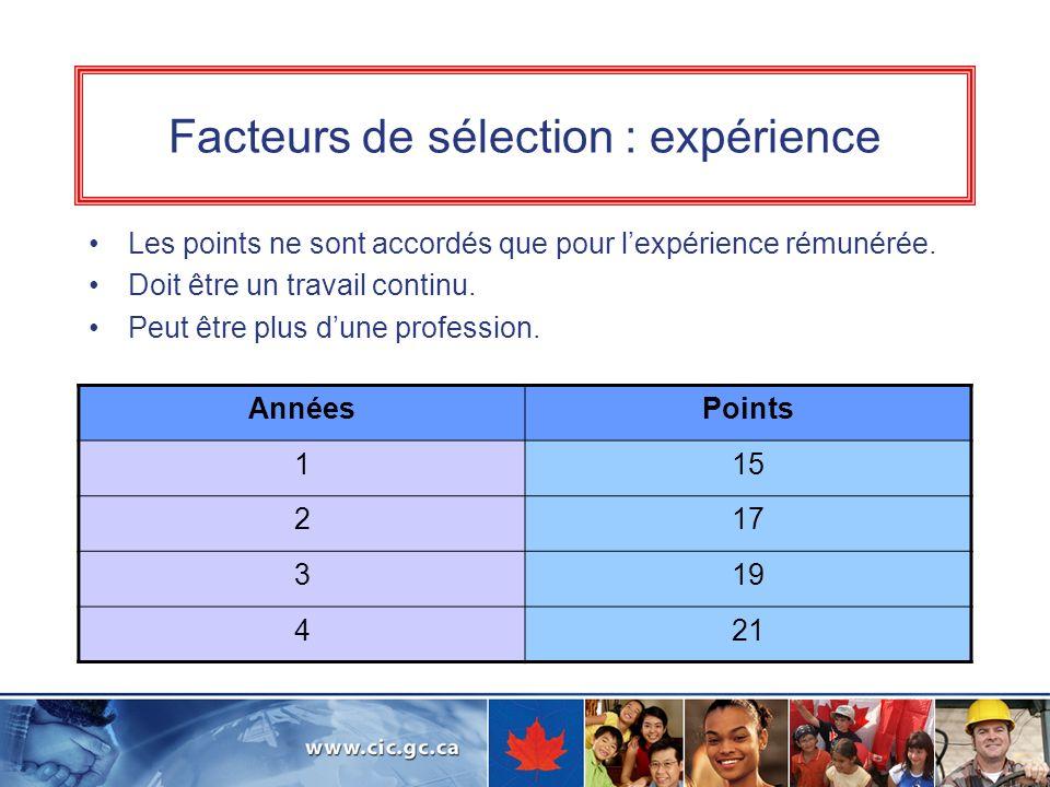 Facteurs de sélection : expérience