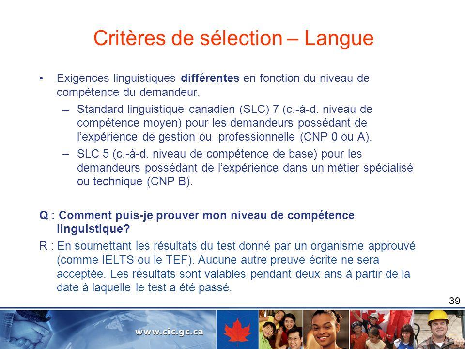 Critères de sélection – Langue