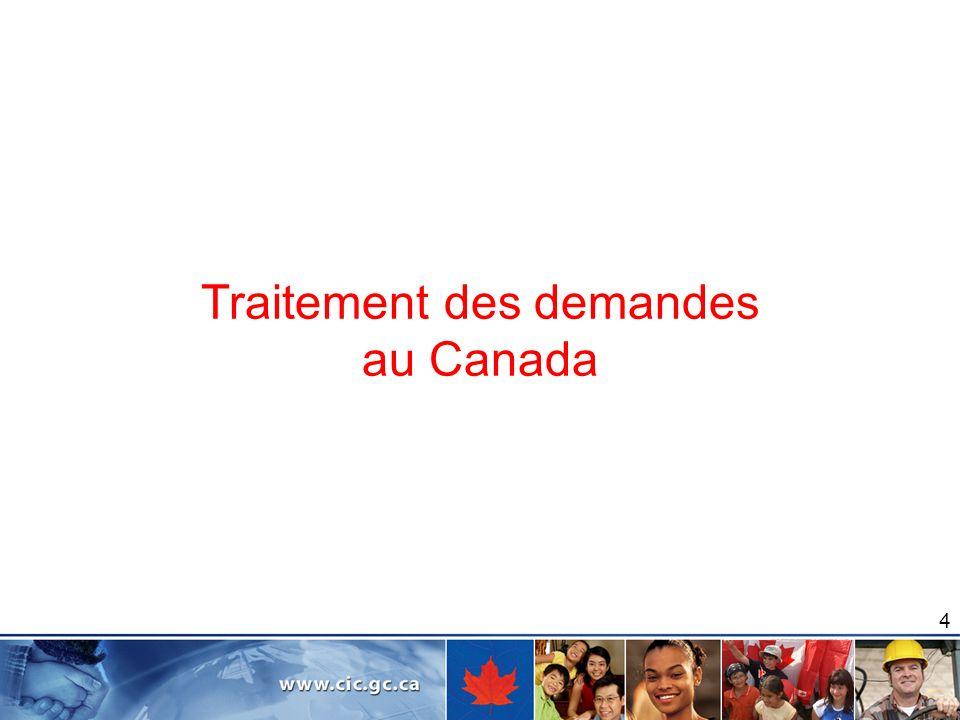 Traitement des demandes au Canada