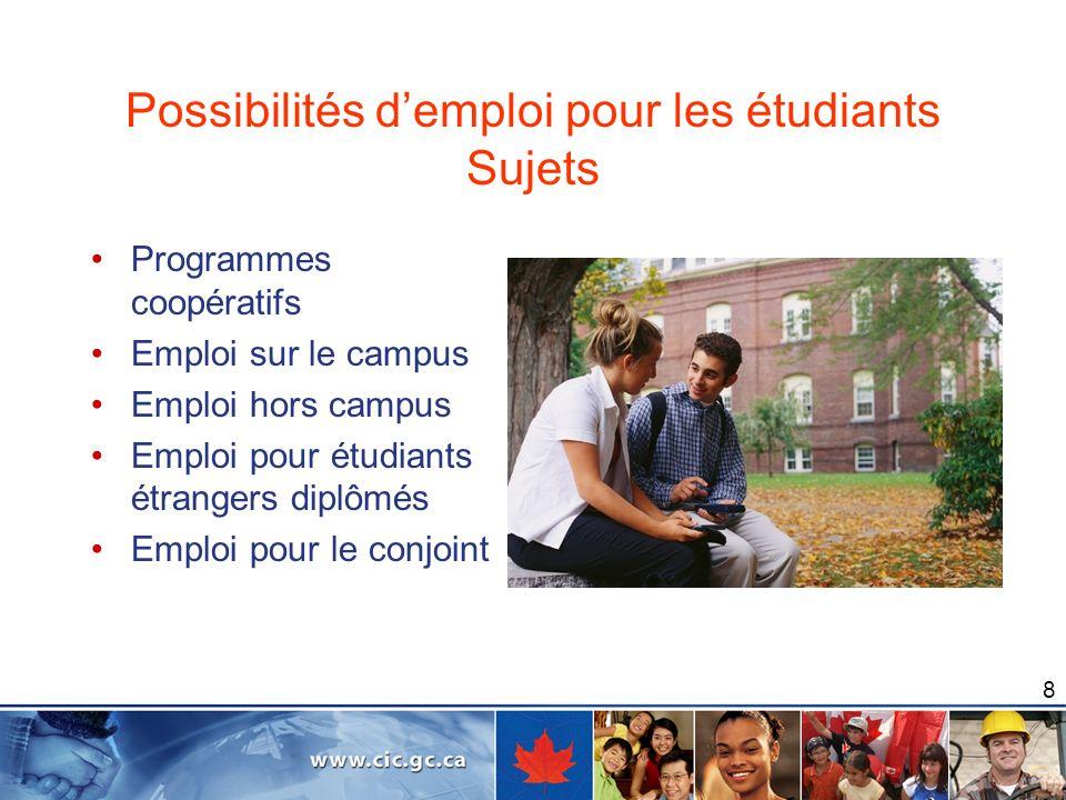 Possibilités d'emploi pour les étudiants Sujets