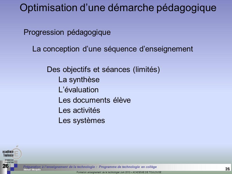 Optimisation d'une démarche pédagogique
