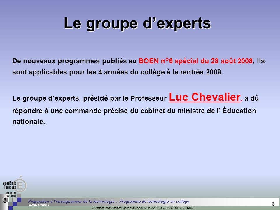 Le groupe d'experts