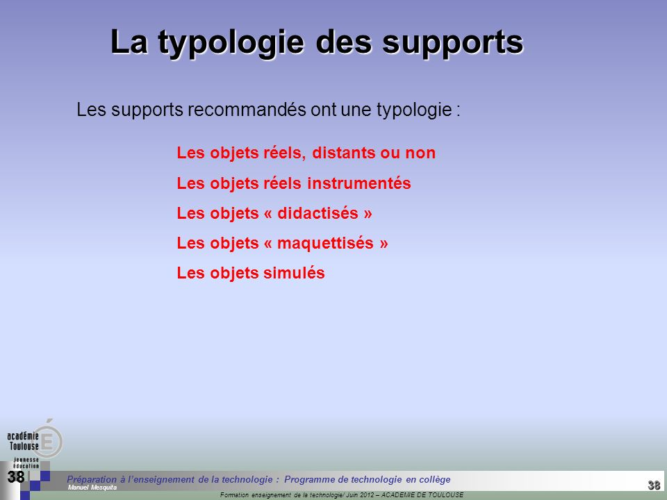 La typologie des supports