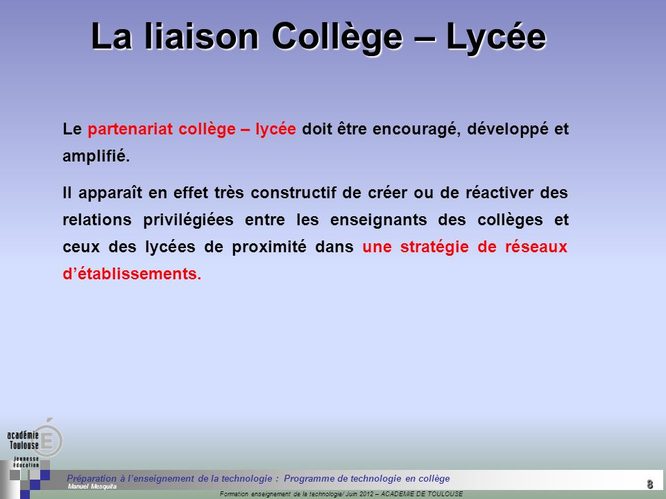 La liaison Collège – Lycée