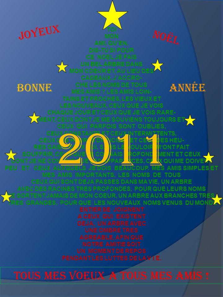 2011 Joyeux Noël Bonne ANNÉE TOUS MES VOEUX A TOUS MES AMIS ! TOI MON
