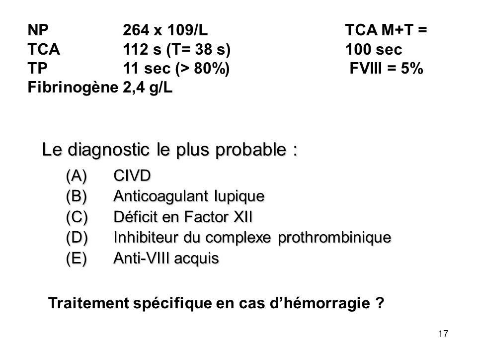 Le diagnostic le plus probable :