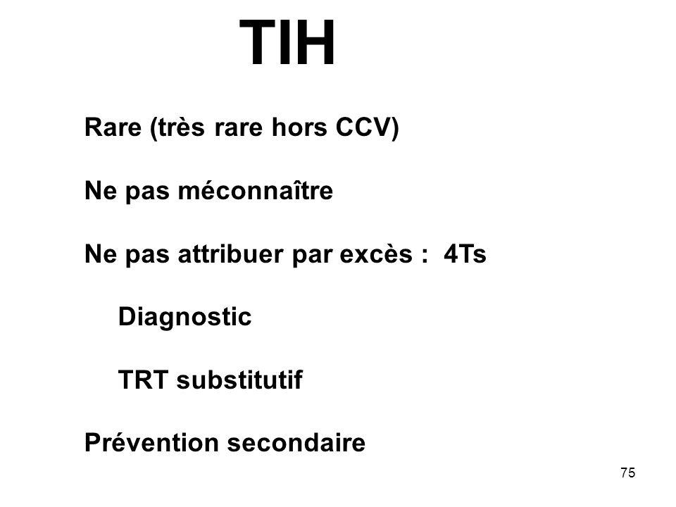 TIH Rare (très rare hors CCV) Ne pas méconnaître