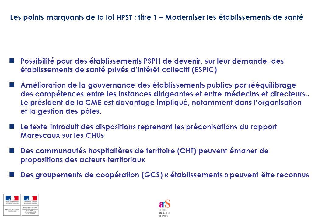 Les points marquants de la loi HPST : titre 1 – Moderniser les établissements de santé