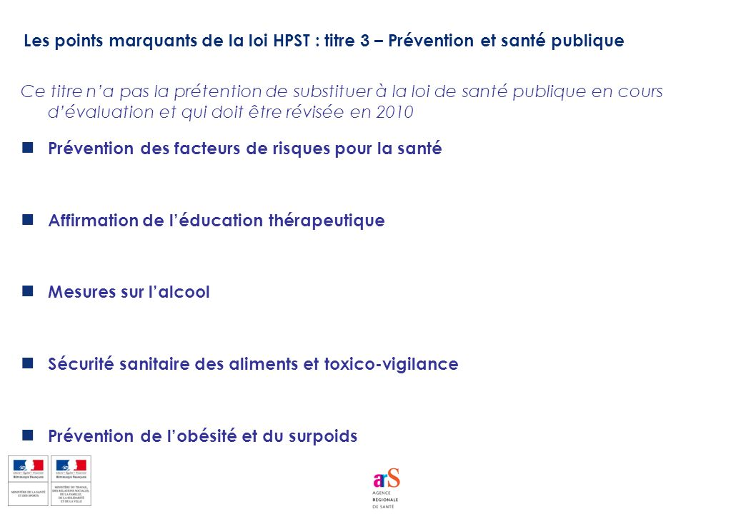 Les points marquants de la loi HPST : titre 3 – Prévention et santé publique