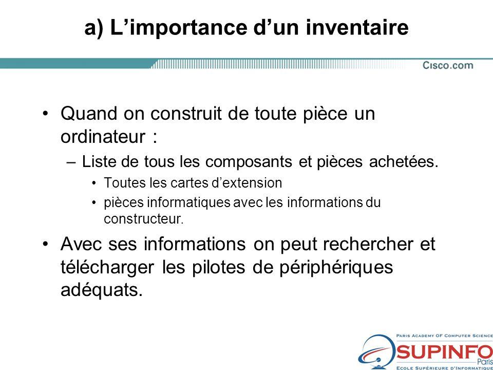 a) L'importance d'un inventaire