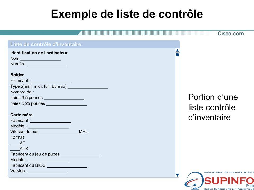 Exemple de liste de contrôle