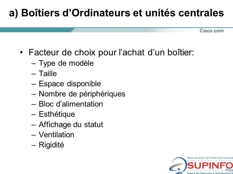 a) Boîtiers d'Ordinateurs et unités centrales