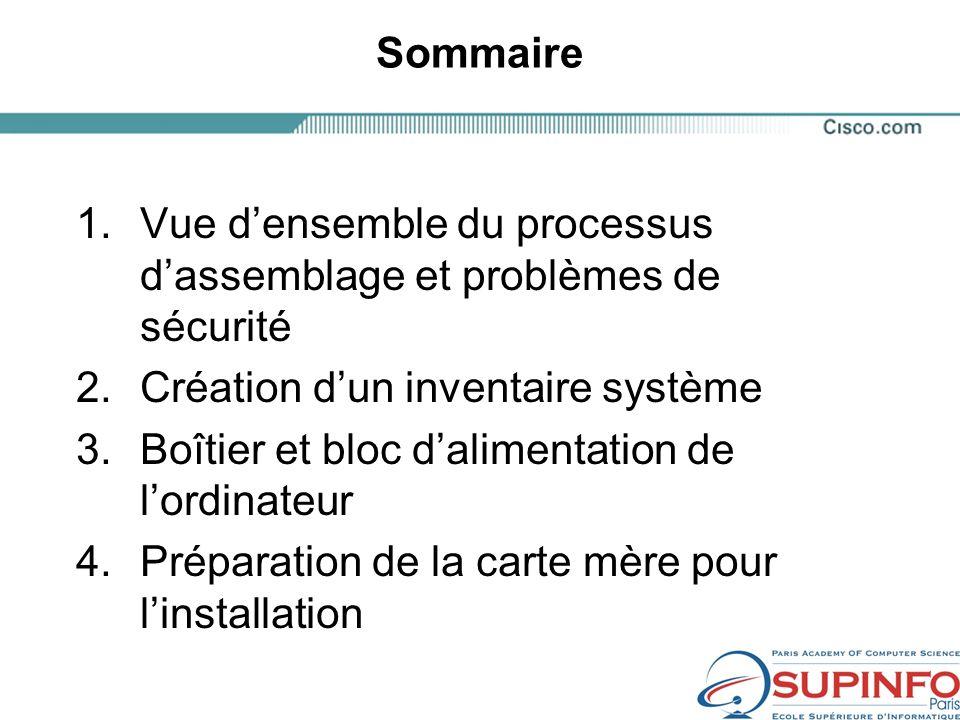 Sommaire Vue d'ensemble du processus d'assemblage et problèmes de sécurité. Création d'un inventaire système.