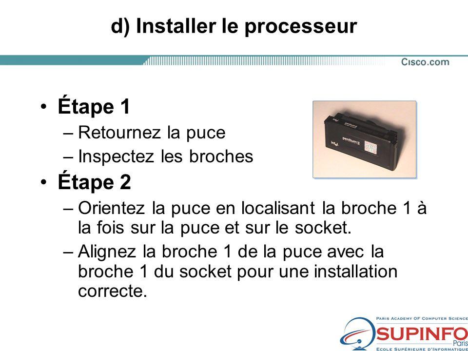 d) Installer le processeur