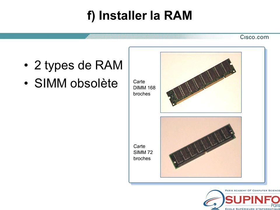 f) Installer la RAM 2 types de RAM SIMM obsolète