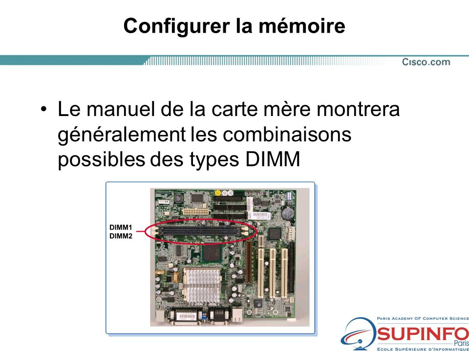 Configurer la mémoire Le manuel de la carte mère montrera généralement les combinaisons possibles des types DIMM.
