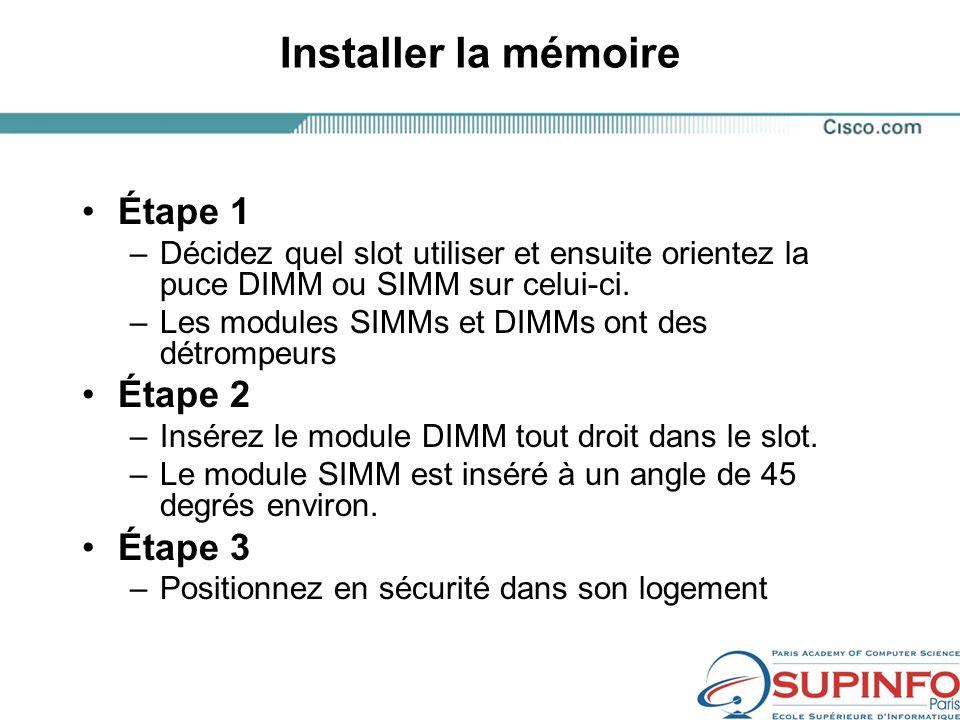 Installer la mémoire Étape 1 Étape 2 Étape 3