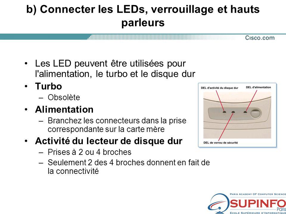 b) Connecter les LEDs, verrouillage et hauts parleurs