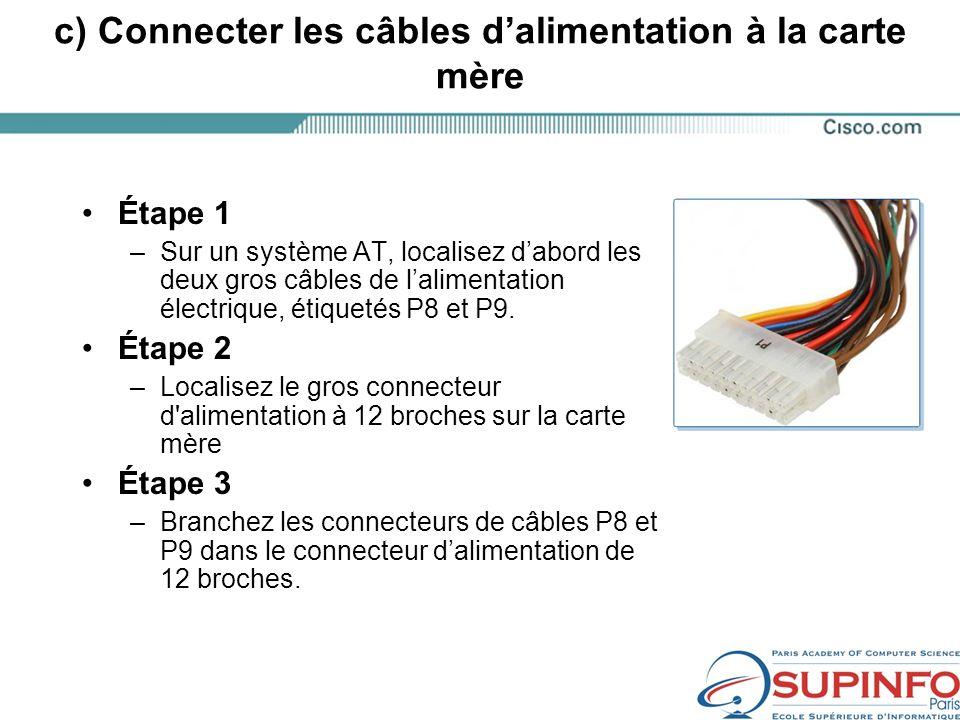 c) Connecter les câbles d'alimentation à la carte mère