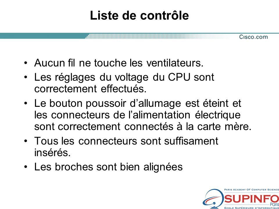 Liste de contrôle Aucun fil ne touche les ventilateurs.