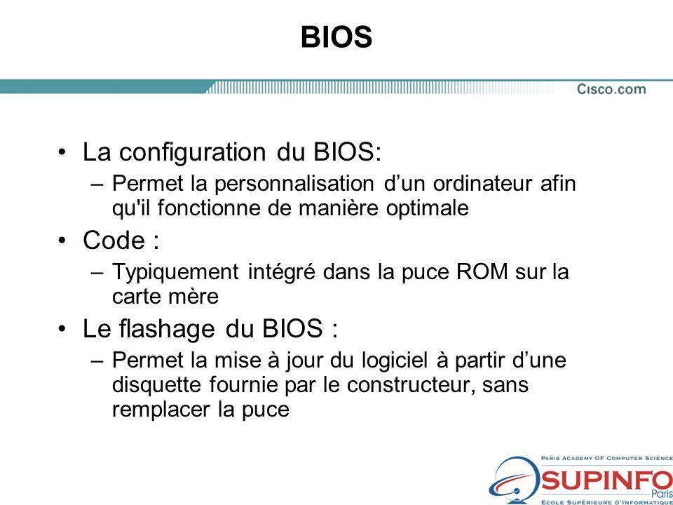 BIOS La configuration du BIOS: Code : Le flashage du BIOS :