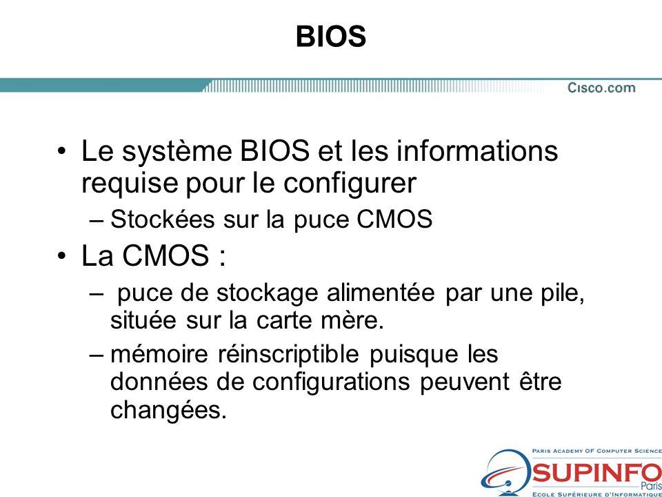 Le système BIOS et les informations requise pour le configurer