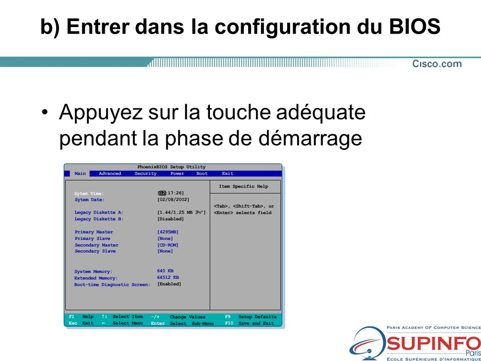 b) Entrer dans la configuration du BIOS