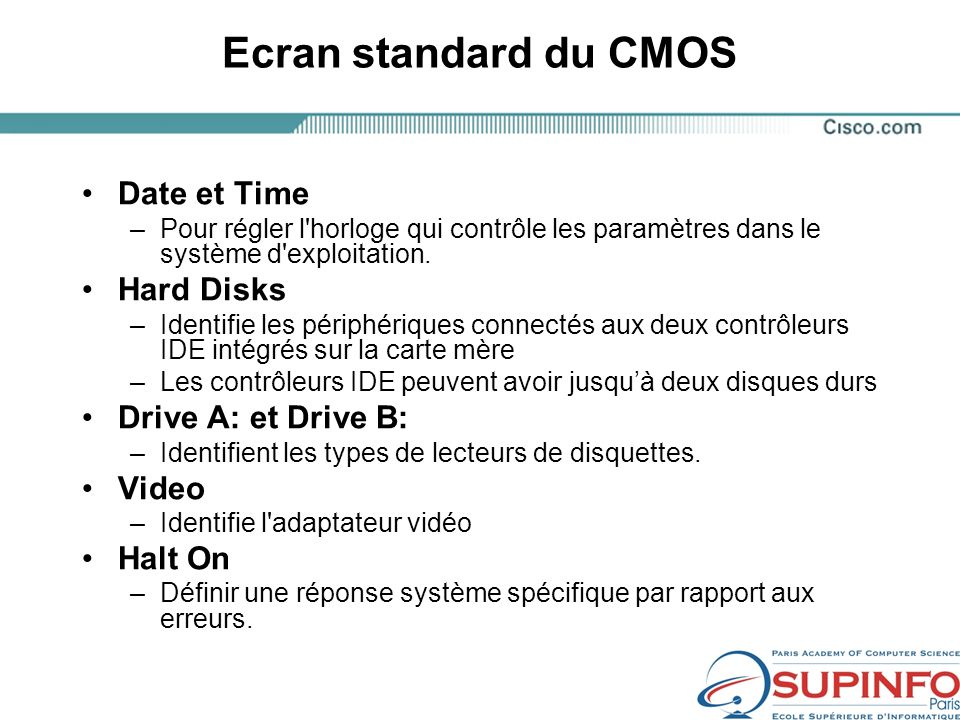Ecran standard du CMOS Date et Time Hard Disks Drive A: et Drive B: