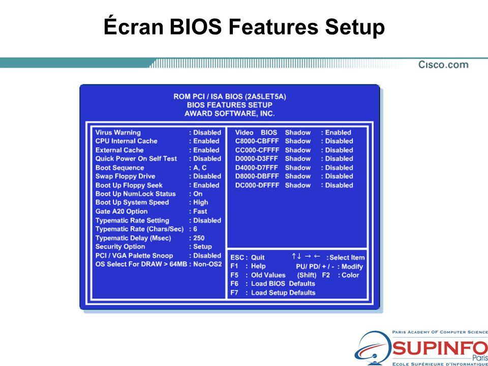Écran BIOS Features Setup