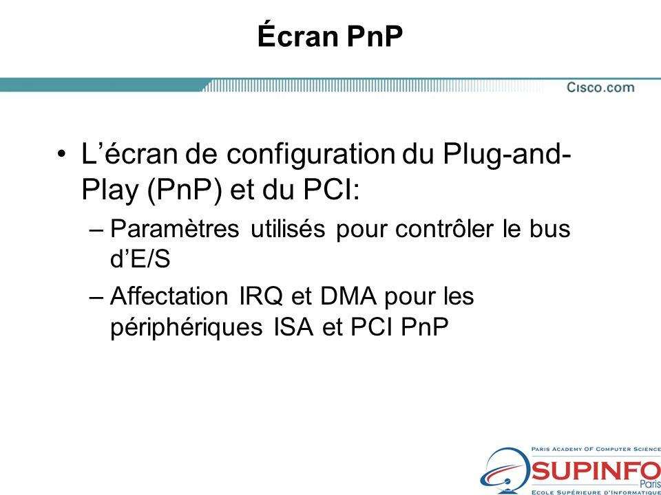 L'écran de configuration du Plug-and-Play (PnP) et du PCI: