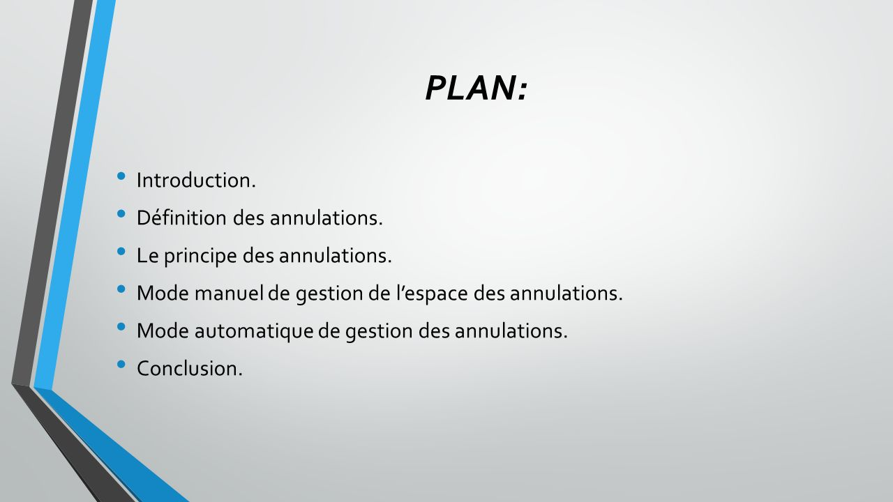 PLAN: Introduction. Définition des annulations.